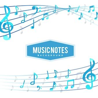 Фон музыкальных нот с пентаграммой
