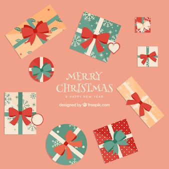 Background of nice gift boxes in flat design