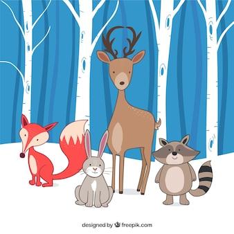 Фон красивых рисованных животных