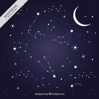 Background of night sky with constellations