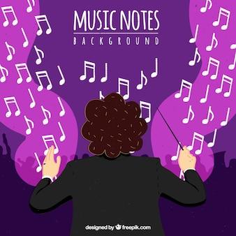Фон дирижера оркестра с музыкальными нотами