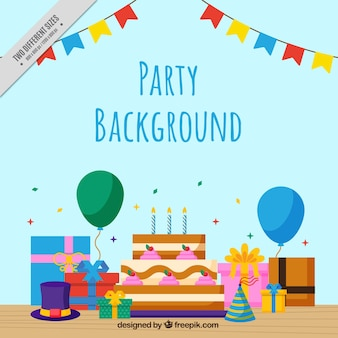 Background of party with birthday cake