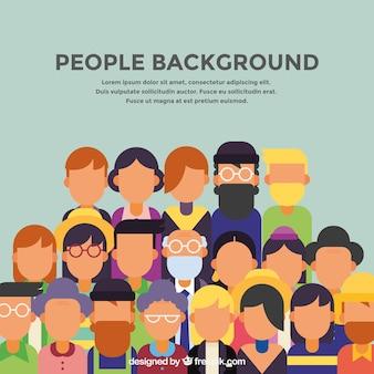 Фон людей в плоском дизайне