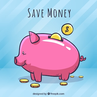 Background of piggy bank piggy bank drawn with money