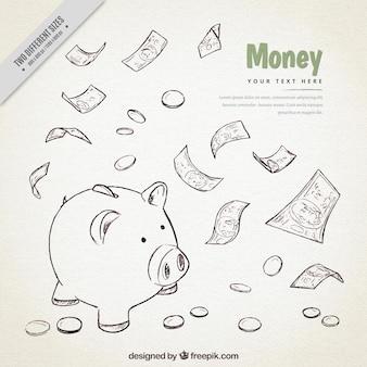 돼지 저금통 스케치 및 지폐의 배경