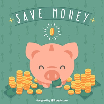 Background of piggy bank with coins and banknote