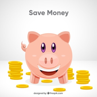 Background of piggy bank with coins