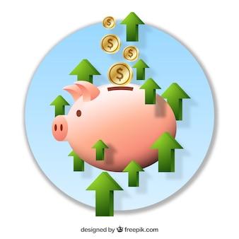 돈으로 돼지 저금통의 배경