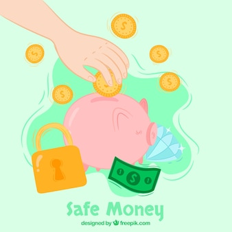 Background of piggy bank with money