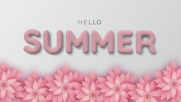 분홍색 종이 꽃과 3d 흰색 여름 비문의 배경. 안녕하세요 여름입니다. 현실적인 3d 그림입니다. 판매용 포스터 및 광고 표지판.
