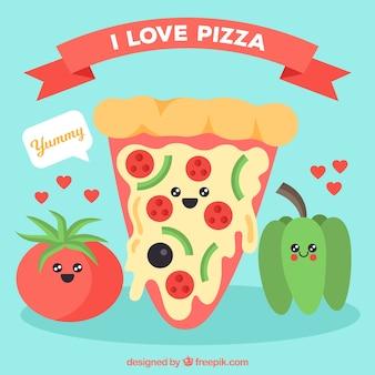 피자 캐릭터와 재료의 배경