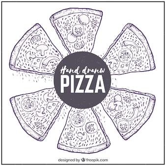 材料を使ったピザスケッチの背景