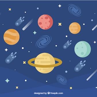 平らなデザインの隕石を持つ惑星の背景