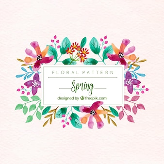 Background of pretty flowers and watercolor leaves