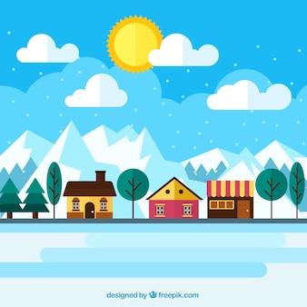 冬の風景の中にはかなりの家の背景