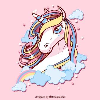 Background of pretty unicorn of colors
