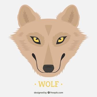 노란 눈을 가진 예쁜 늑대의 배경