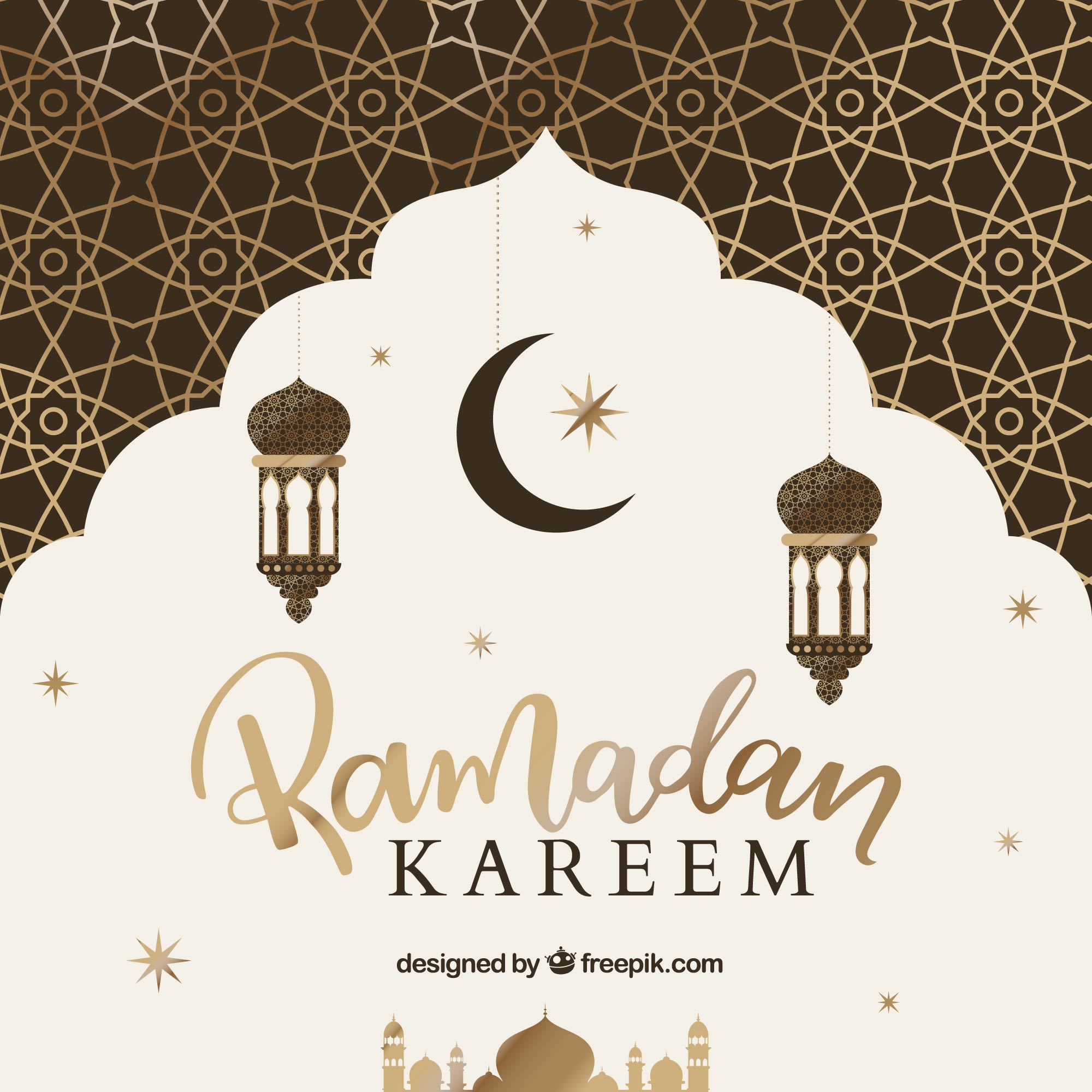 Background of ramadán with golden pattern