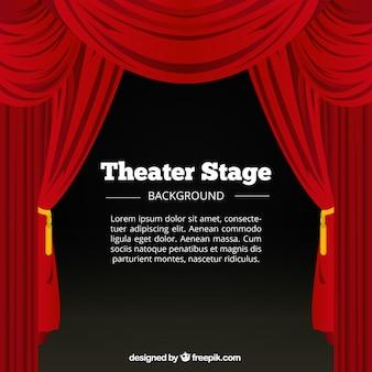 빨간 커튼 및 극장 무대의 배경