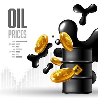 世界のイラストで上昇する石油価格の背景 無料ベクター