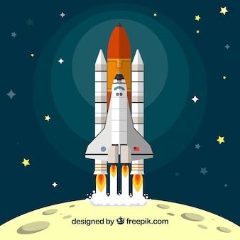 月から離陸するロケットの背景