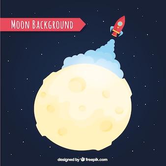 Фон ракеты взлетает на луне