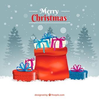 Фон мешок, полный рождественских подарков