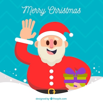 Background of santa claus waving with a gift