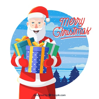 Background of santa claus with gifts