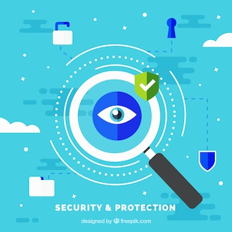 Background of security protection with magnifying glass