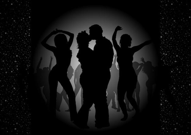 블랙에 스포트 라이트와 실루엣 댄서의 배경