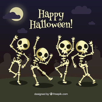 Background of skeletons dancing