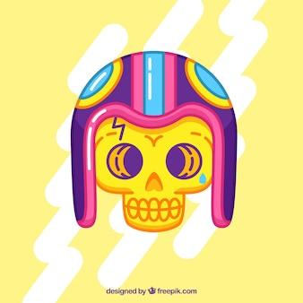 평면 디자인에 헬멧 두개골의 배경