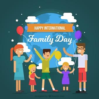 Фон улыбающихся людей, празднующих международный день семей