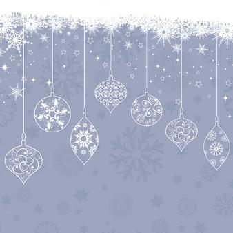 Рождественские украшения на фоне снежинки
