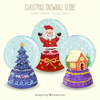 Background of snowglobes with watercolor christmas elements