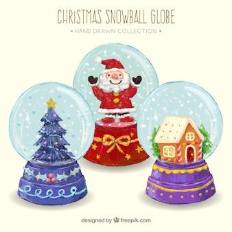 水彩クリスマスの要素を持つsnowglobesの背景