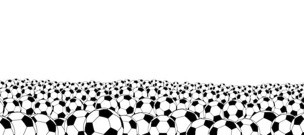 Фон футбольных мячей, расположенный внизу, черный на белом