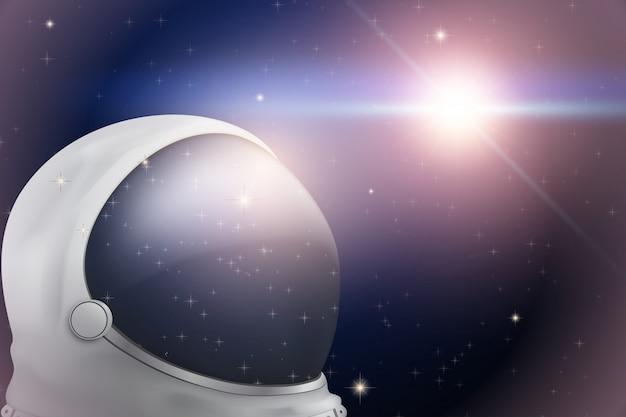 宇宙飛行士のヘルメットと宇宙の背景