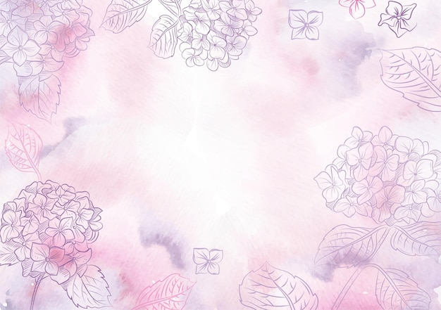 스플래시 보라색 수국 꽃 벡터의 배경