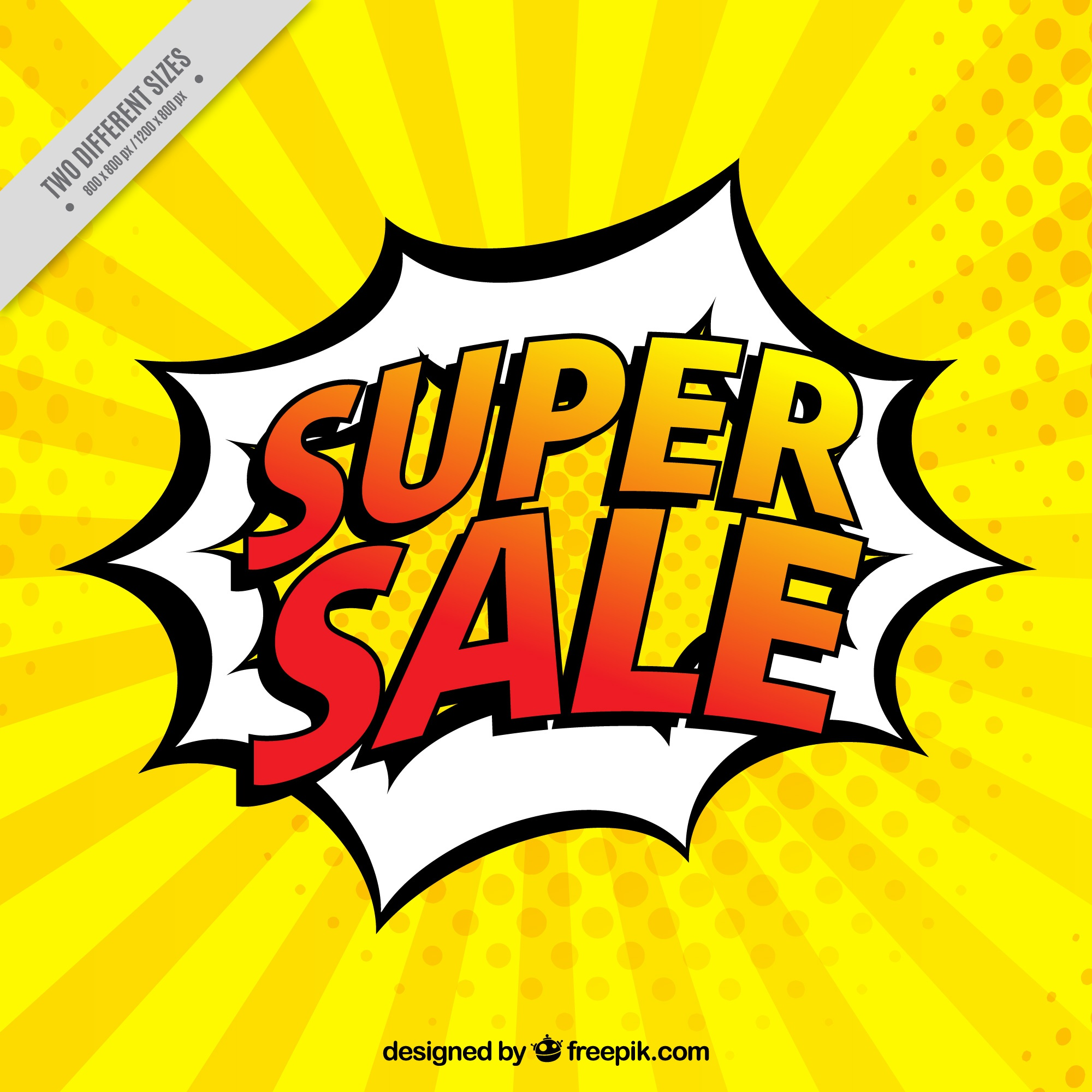 Background of super sales in comic style