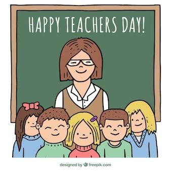 彼女の美しい手描きの生徒と教師の背景 無料ベクター
