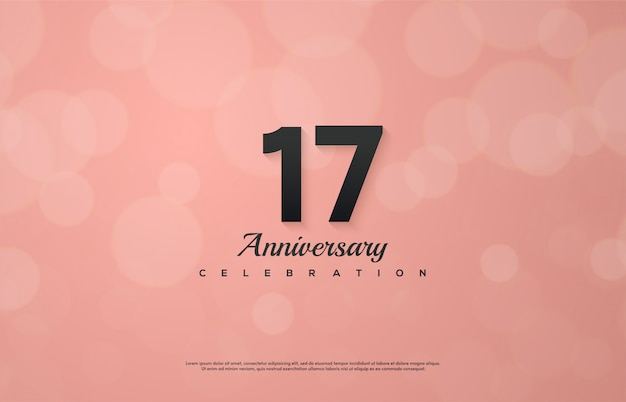 柔らかなピンク色のニュアンスと17のお祝いの背景。