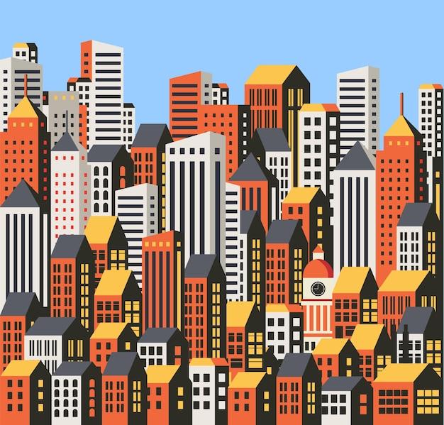 都市の建物、高層ビルや家の背景。