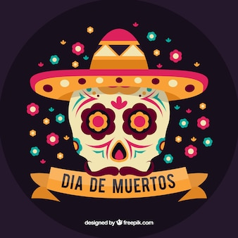 Background of the day of the dead with mexican skull