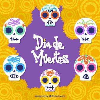 Предыстория дня мертвых с мексиканскими черепами