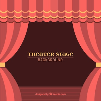 붉은 색조의 커튼으로 극장 무대의 배경