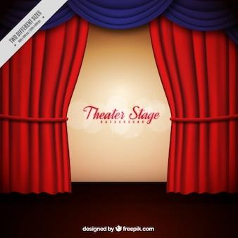 빨간색과 파란색 커튼으로 극장 무대의 배경