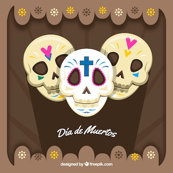Background of three mexican skulls