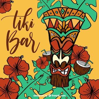 手で描かれた花とココナッツとビーチのティキのマスクの背景